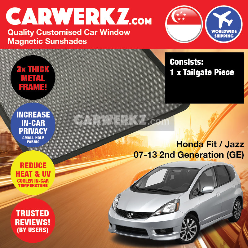 Honda Fit Jazz 2007-2013 2nd Generation (GE) Japan Hatchback Customised Car Window Rear Tailgate Sunshade 1 Piece - CarWerkz