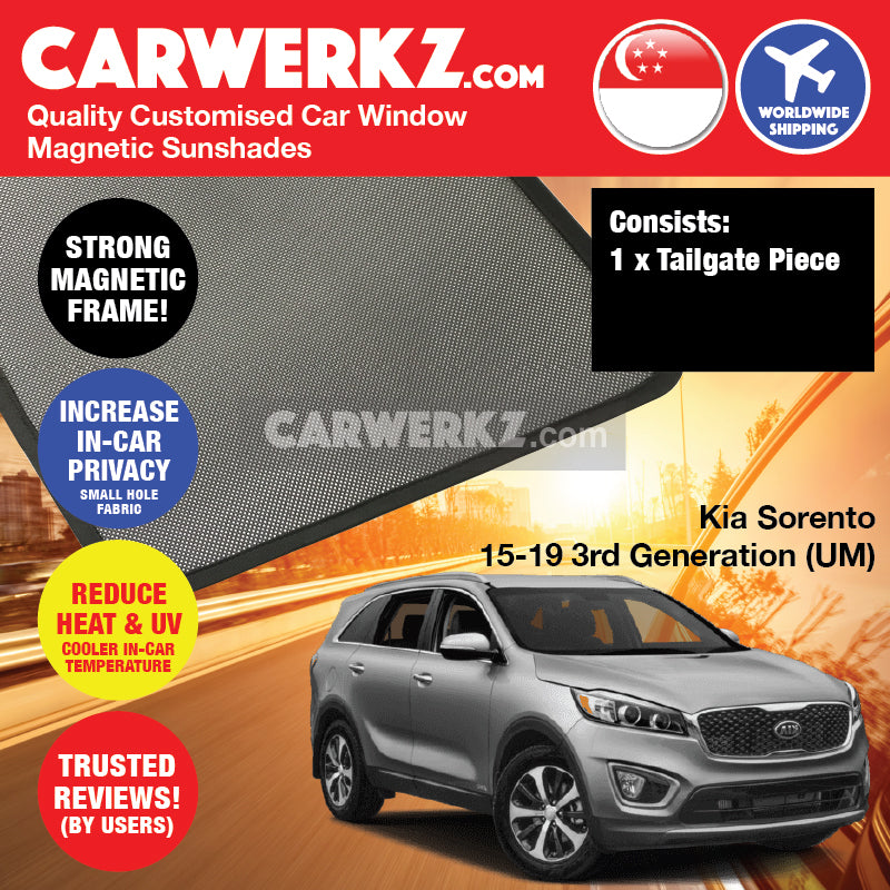 Kia Sorento 2015-2020 3rd Generation (UM) Korea Mid Size Crossover SUV Customised Car Window Magnetic Sunshades - CarWerkz