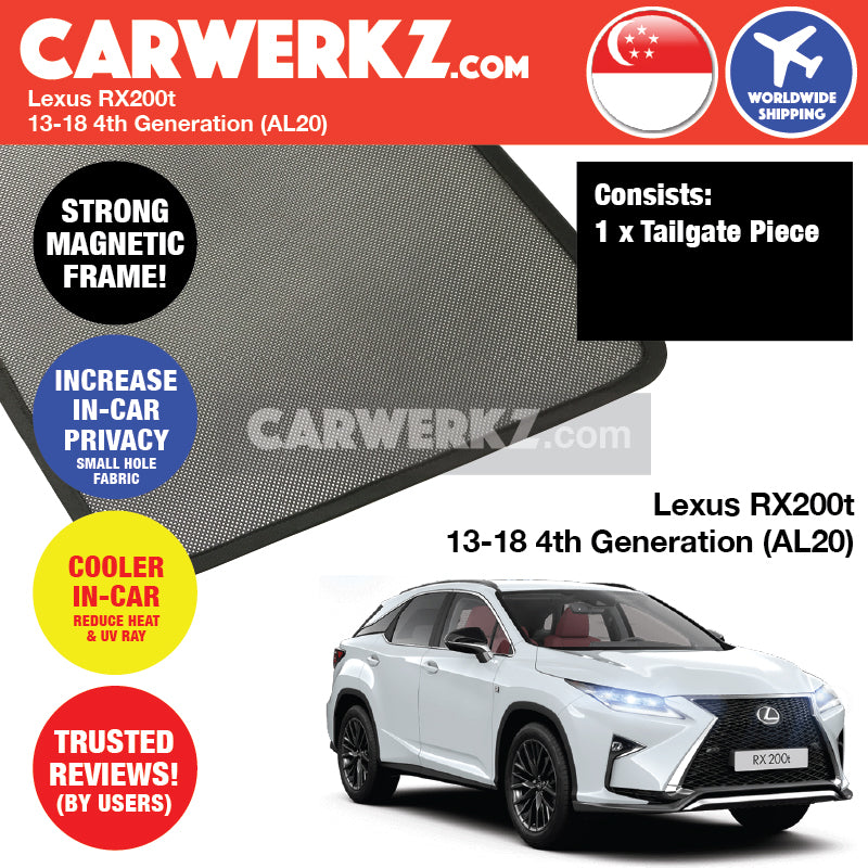 Lexus RX200T 2013-2018 4th Generation (AL20) Customised Japanese Luxury SUV Rear Tailgate Sunshades 1 Piece - CarWerkz