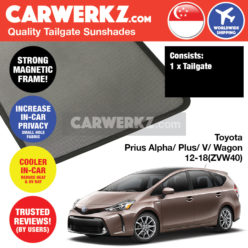 Toyota Prius Alpha Prius V Prius Plus Grand Prius Wagon 2012 2013 2014 2015 2016 2017 2018 (ZVW40) Customised Car Rear Tailgate Sunshades 1 Piece - CarWerkz