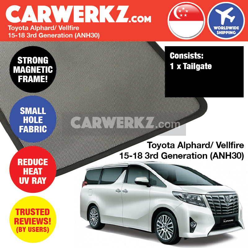 Toyota Alphard Vellfire 2015-2018 3rd Generation (ANH30) Customised Car Window Rear Tailgate Sunshade 1 Piece - CarWerkz
