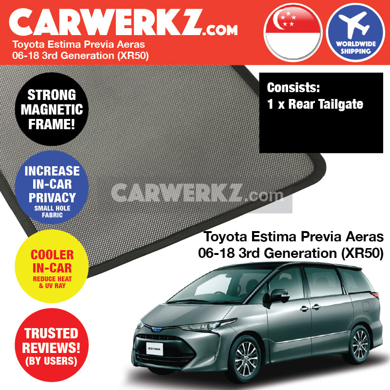 Toyota Estima Previa Aeras 2006-2018 3rd Generation (XR50) Customised Car Window Rear Tailgate Sunshade 1 Piece - CarWerkz