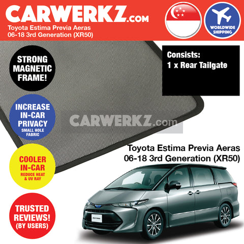 Toyota Estima Previa Aeras mpv multi purpose vehicles car accessories 2006 2007 2008 2009 2010 2011 2012 2013 2014 2015 2016 2017 2018 3rd Generation (XR50) Rear Tailgate Sunshade 1 Piece