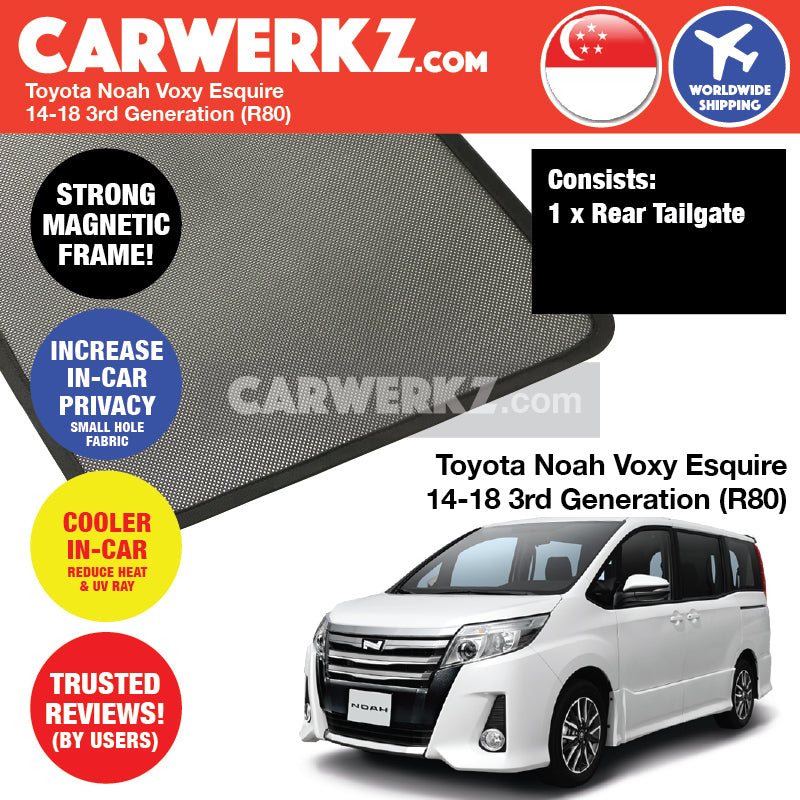 Toyota Noah Voxy Esquire 2014 2015 2016 2017 2018 3rd Generation (R80) Customised Car Window Rear Tailgate Sunshade 1 Piece