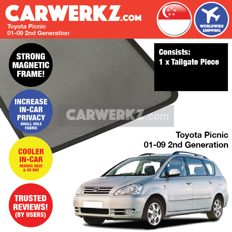 Toyota Picnic 2001-2009 2nd Generation Customised Car Window Tailgate Sunshade 1 Piece - CarWerkz