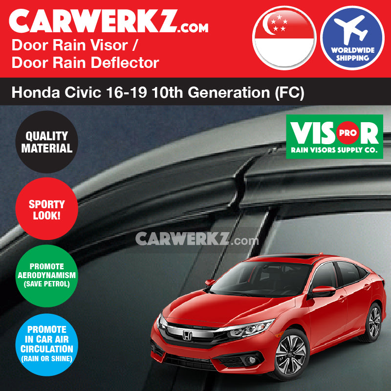 VISOR PRO Honda Civic 2014-2019 10th Generation (FC) Mugen Style Door Visors Rain Visors Rain Deflector Rain Guard