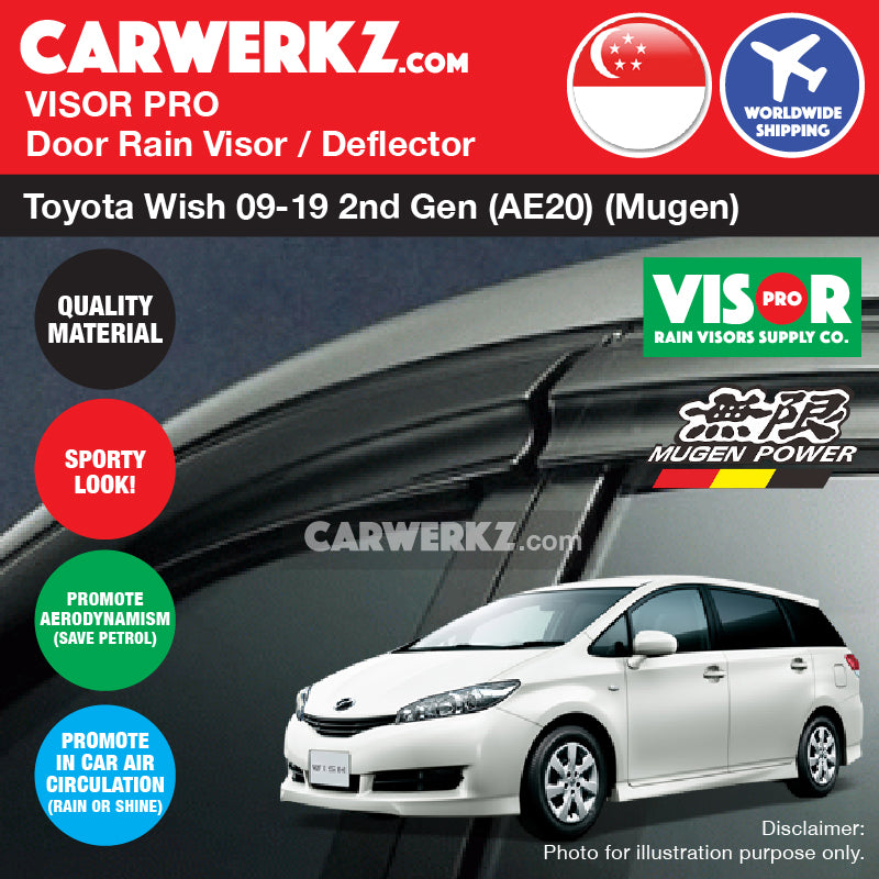 Toyota Wish 2009-2019 2nd Generation (AE20)  Door Visors Rain Visors Rain Deflectors Rain Guards