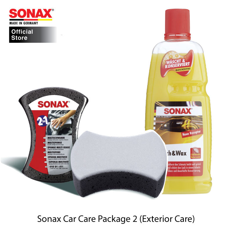 BUNDLE: SONAX Car Care Package 2 (Exterior Care) (Wash and Wax + Multi Sponge) - CarWerkz