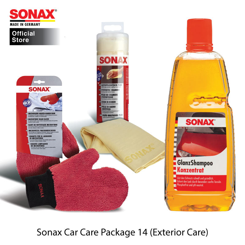 BUNDLE: SONAX Car Care Package 14 (Exterior Care) (Gloss Shampoo + Wash Glove + Synthetic Chamois)