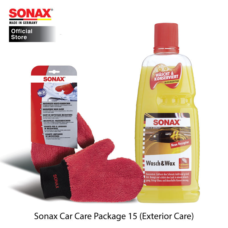 BUNDLE: SONAX Car Care Package 15 (Exterior Care) (Wash & Wax + Wash Glove)
