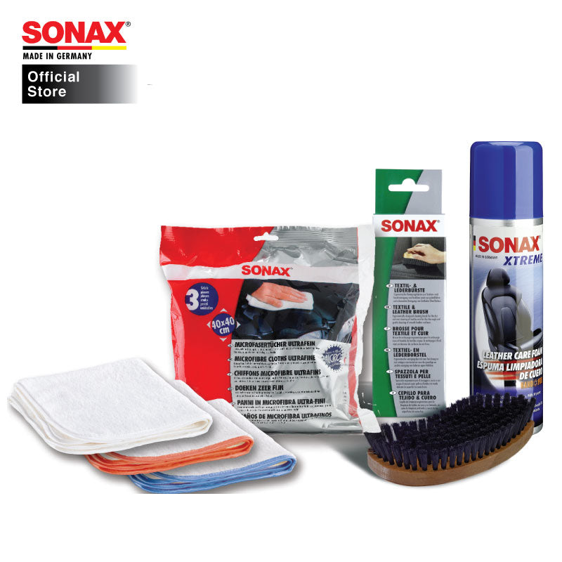 BUNDLE: SONAX Car Care Package 32 (Interior Care) (Xtreme Leather Care Foam Nano Pro 2 in 1 250ml + Leather Brush + Ultrafine Cloth (3pc)) - CarWerkz