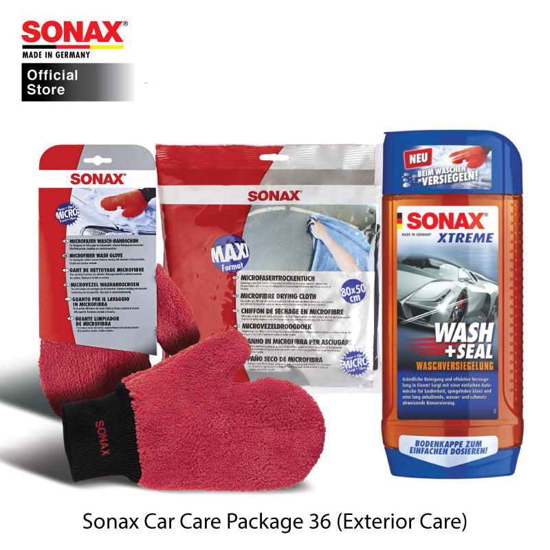 BUNDLE: SONAX Car Care Package 36 (Exterior Care) (Xtreme Wash & Seal + Wash Glove + Drying Cloth)