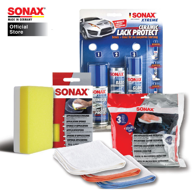 BUNDLE: Sonax Car Care Package 40 (Paintwork Care) (Ceramic Paint Protect + Application Sponge + Ultrafine Cloth) - CarWerkz