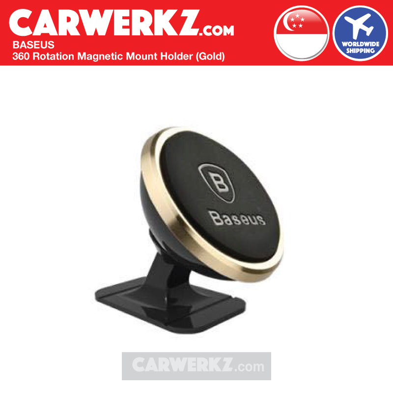 Baseus 360 Rotation Magnetic Mount Holder Gold - CarWerkz