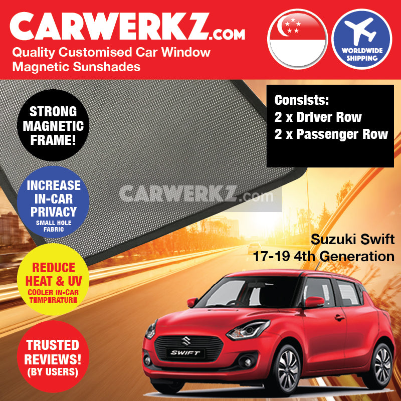Suzuki Swift 2017-2020 4th Generation (ZC33S) Japan Hatchback Customised Car Window Magnetic Sunshades 4 Pieces - CarWerkz