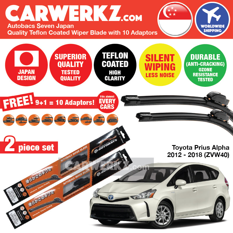 Autobacs Seven Japan Teflon Coated Flex Aerodynamic Wiper Blade with 10 Adaptors for Toyota Prius Alpha Prius V Prius Plus Grand Prius Wagon 2012-2018 (ZVW40) (26 inch + 16 inch) - CarWerkz