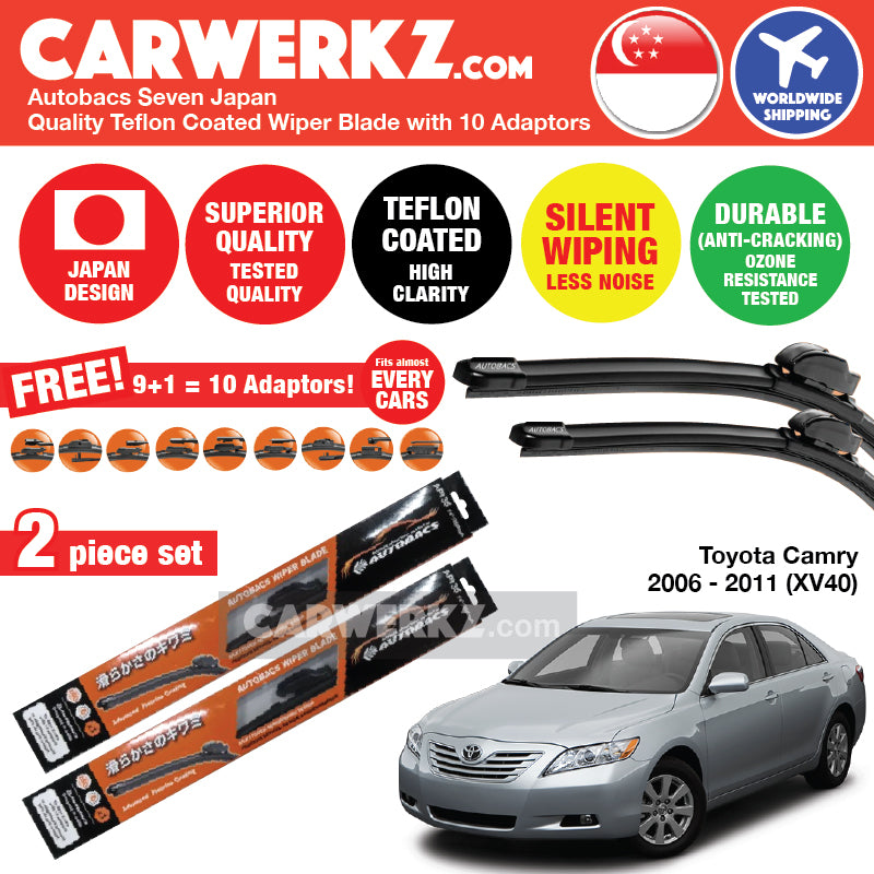 Autobacs Seven Japan Teflon Coated Flex Aerodynamic Wiper Blade with 10 Adaptors for Toyota Camry 2006-2011 (XV40) (24 inch + 20 inch) - CarWerkz