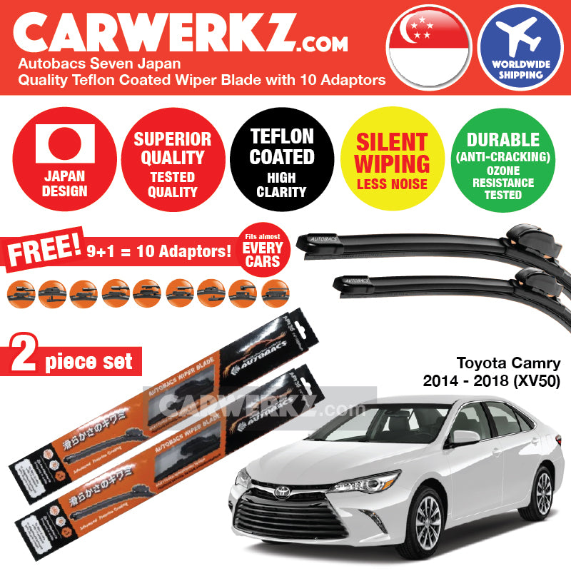 Autobacs Seven Japan Teflon Coated Flex Aerodynamic Wiper Blade with 10 Adaptors for Toyota Camry 2014-2018 (XV50) (26 inch + 18 inch) - CarWerkz