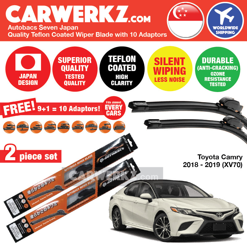 Autobacs Seven Japan Teflon Coated Flex Aerodynamic Wiper Blade with 10 Adaptors for Toyota Camry 2018-2018 8th Generation (XV70) (26 inch + 20 inch) - CarWerkz