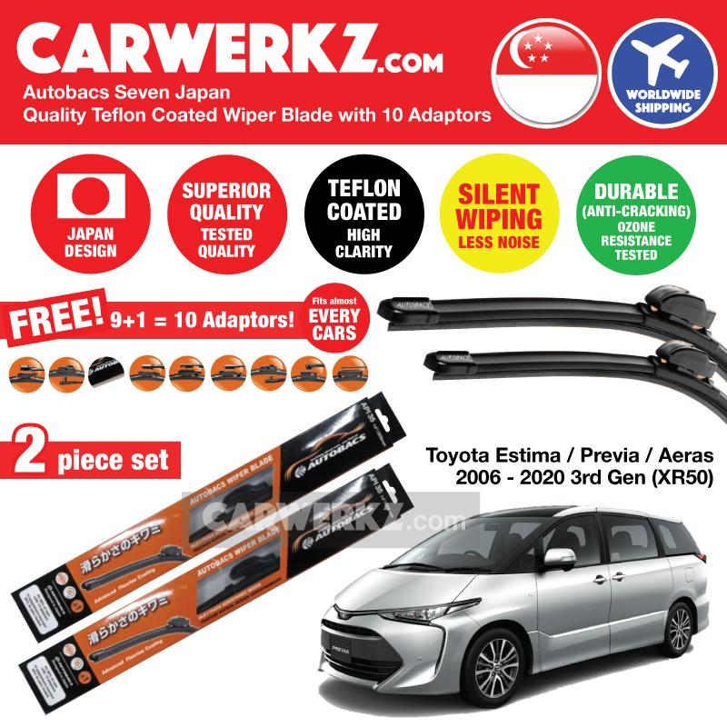 "Autobacs Seven Japan Teflon Coated Flex Aerodynamic Wiper Blade with 10 Adaptors for Toyota Estima Previa Aeras 2006-2020 3rd Generation (XR50) (28""+16"") - CarWerkz"