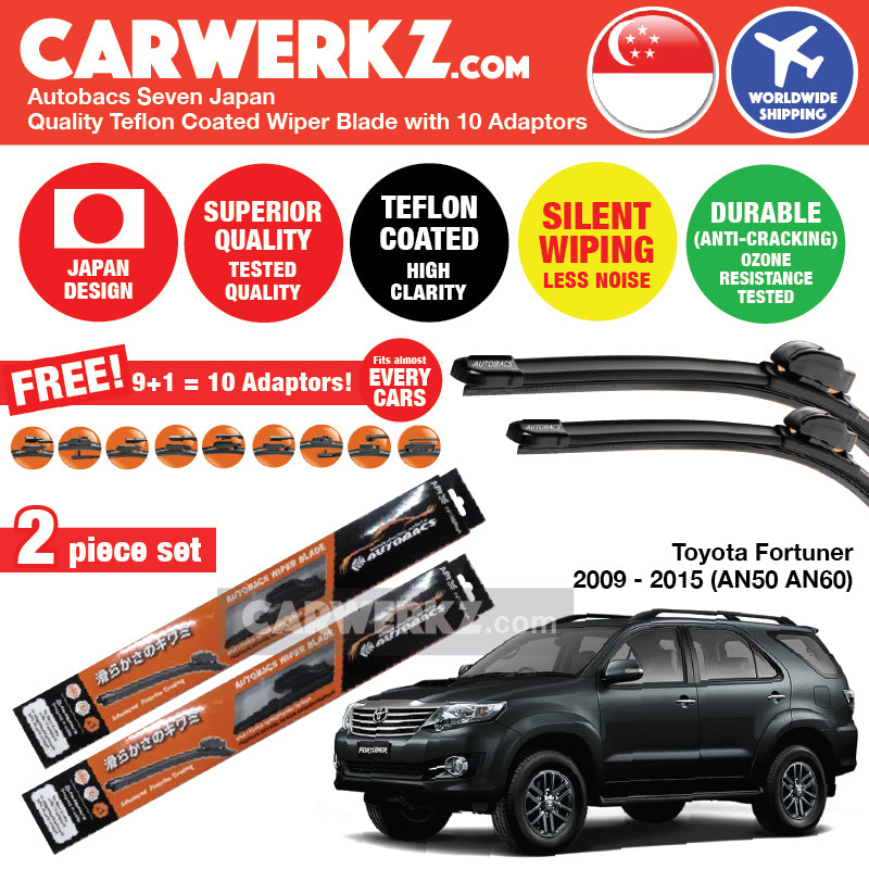 Autobacs Seven Japan Teflon Coated Flex Aerodynamic Wiper Blade with 10 Adaptors for Toyota Fortuner 2009-2015 1st Generation (AN50 AN60) (21 inch + 19 inch) - CarWerkz