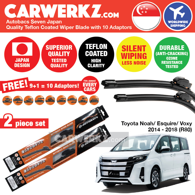 "Autobacs Seven Japan Teflon Coated Flex Aerodynamic Wiper Blade with 10 Adaptors for Toyota Noah Voxy Esquire 2014-2019 3rd Generation (R80) (28""+14"") - CarWerkz"