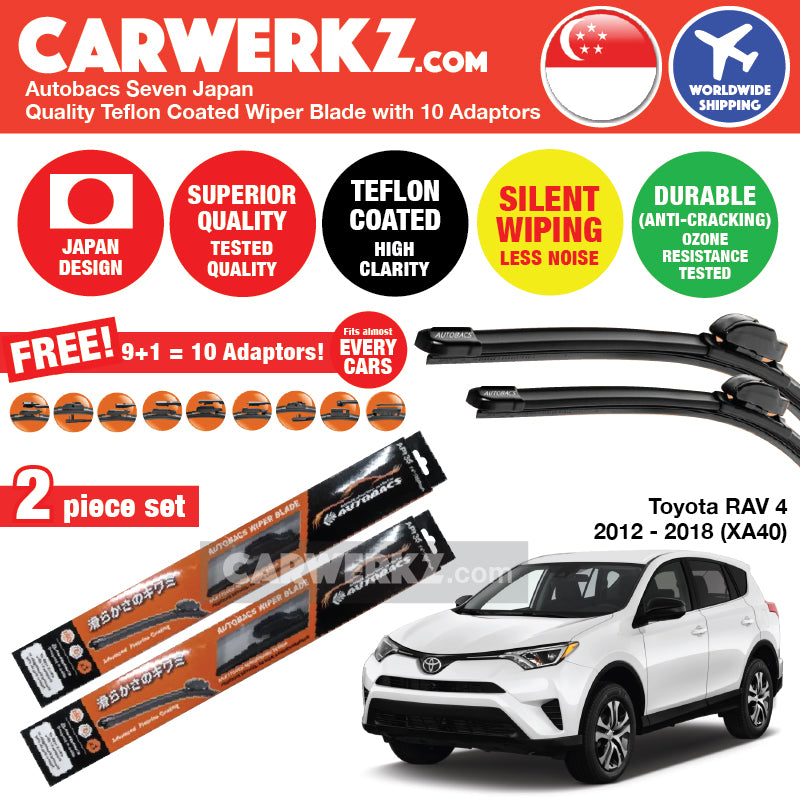 Autobacs Seven Japan Teflon Coated Flex Aerodynamic Wiper Blade with 10 Adaptors for Toyota Rav4 2012-2018 4th Generation (XA40) (26 inch + 16 inch) - CarWerkz