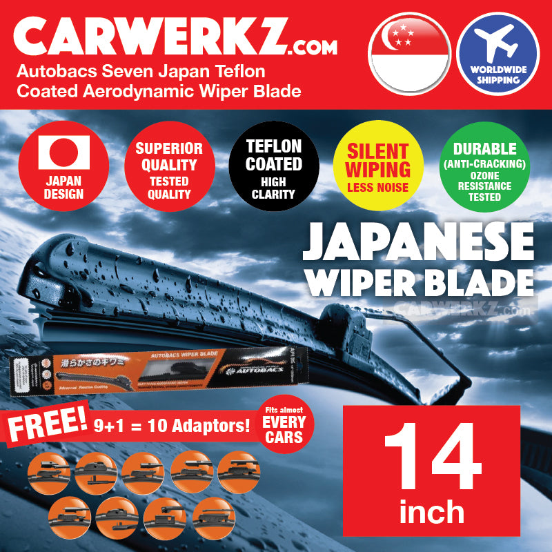 Autobacs Seven Japan Teflon Coated Flex Aerodynamic Wiper Blade with 10 Adaptors 14 inch / 350mm - CarWerkz