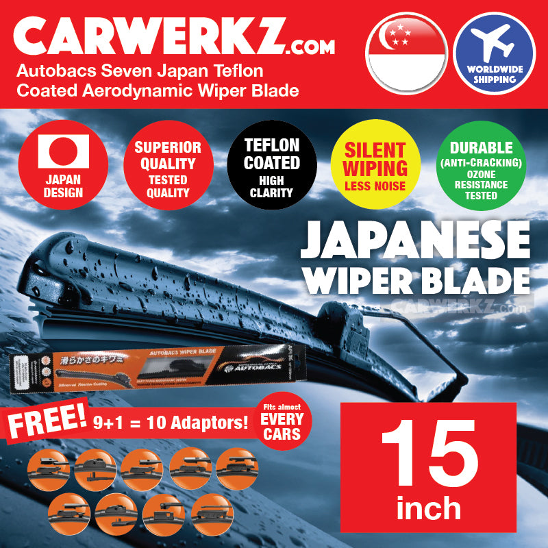 Autobacs Seven Japan Teflon Coated Flex Aerodynamic Wiper Blade with 10 Adaptors 15 inch / 375mm - CarWerkz