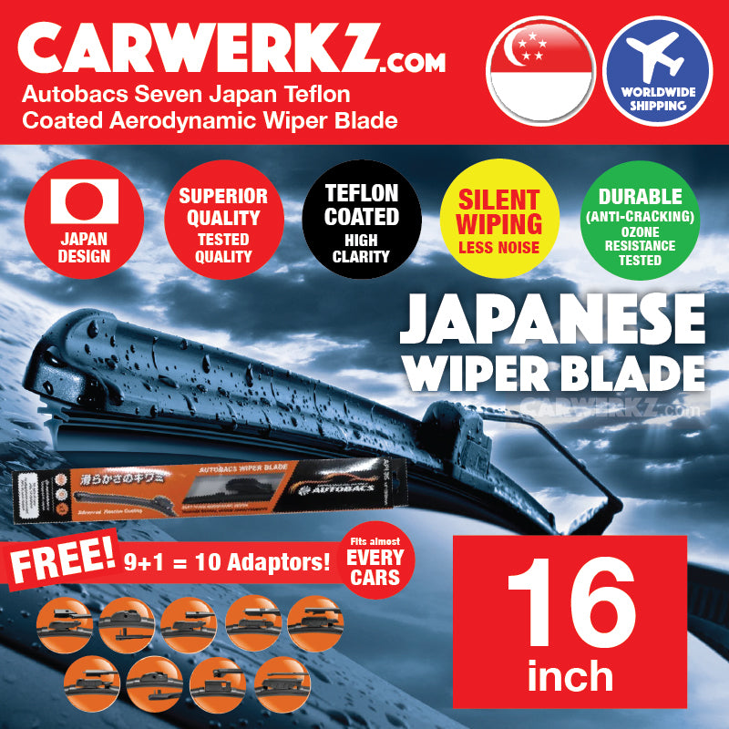 Autobacs Seven Japan Teflon Coated Flex Aerodynamic Wiper Blade with 10 Adaptors 16 inch / 400mm - CarWerkz