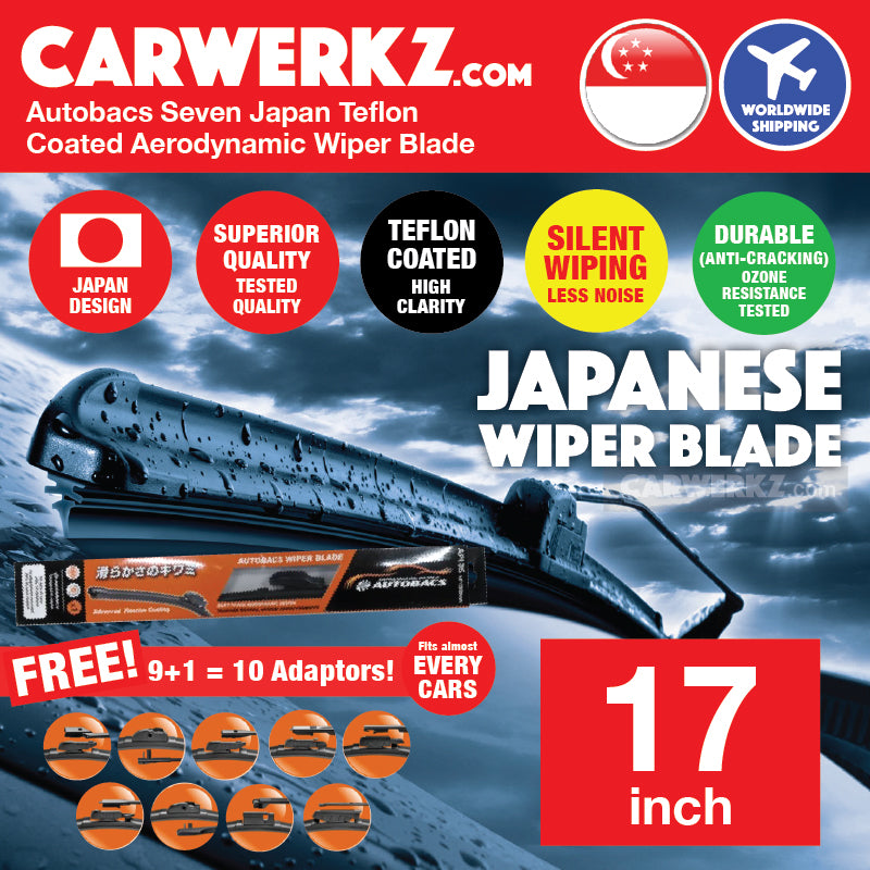 Autobacs Seven Japan Teflon Coated Flex Aerodynamic Wiper Blade with 10 Adaptors 17 inch / 425mm - CarWerkz
