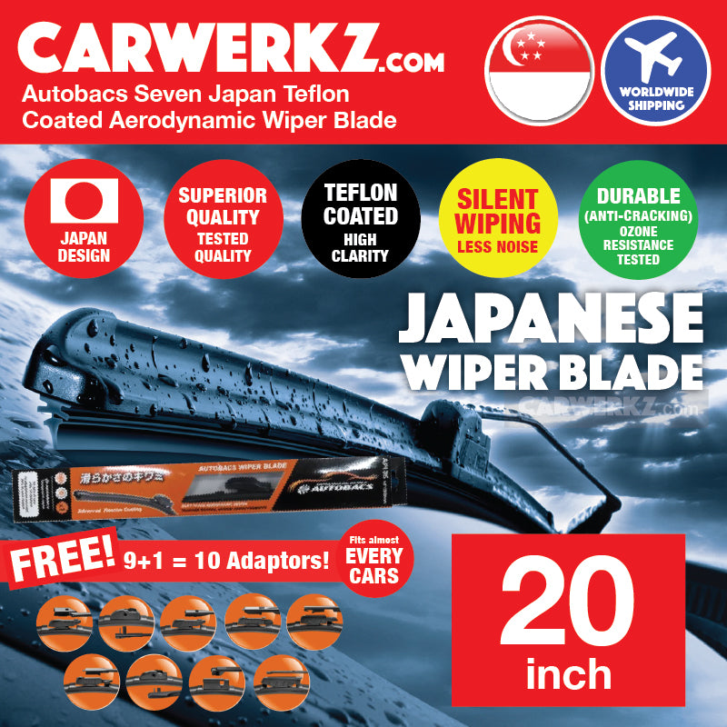 Autobacs Seven Japan Teflon Coated Flex Aerodynamic Wiper Blade with 10 Adaptors 20 inch / 500mm - CarWerkz