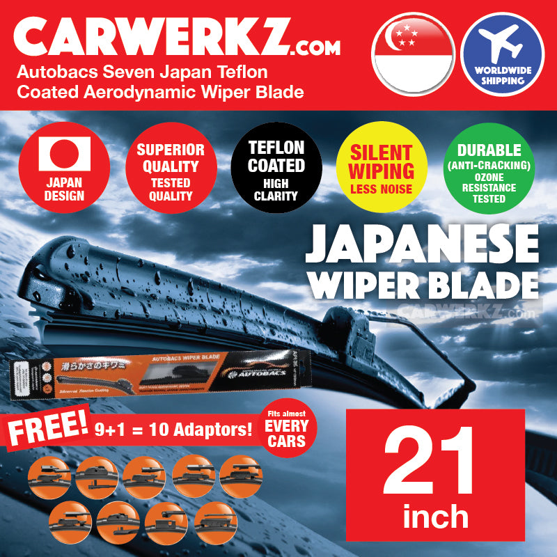 Autobacs Seven Japan Teflon Coated Flex Aerodynamic Wiper Blade with 10 Adaptors 21 inch / 525mm - CarWerkz