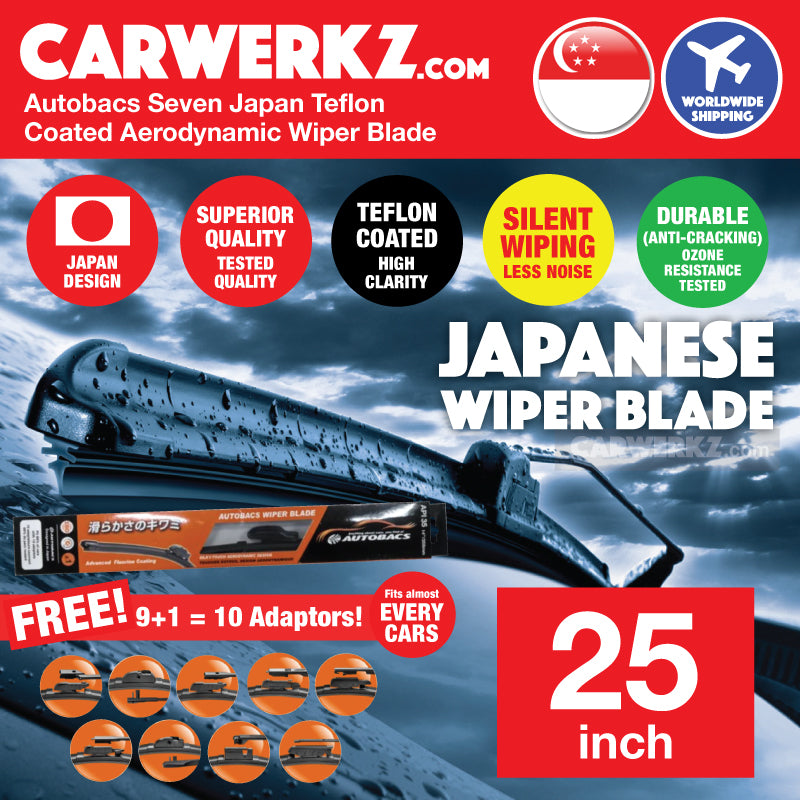 Autobacs Seven Japan Teflon Coated Flex Aerodynamic Wiper Blade with 10 Adaptors 25 inch / 625mm - CarWerkz