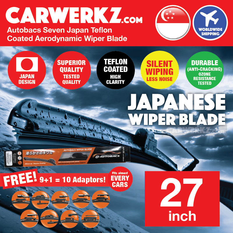 Autobacs Seven Japan Teflon Coated Flex Aerodynamic Wiper Blade with 10 Adaptors 27 inch / 675mm - CarWerkz
