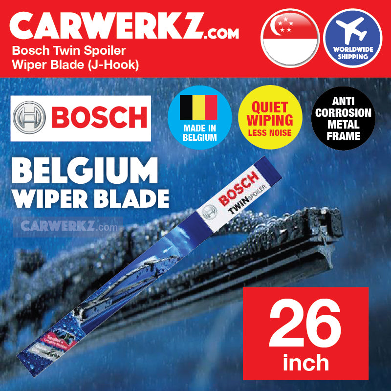 Bosch OE Specialty Twin Spoiler 650 US Wiper Blade 26 inch / 650mm J-Hook (Made in Belgium) - CarWerkz