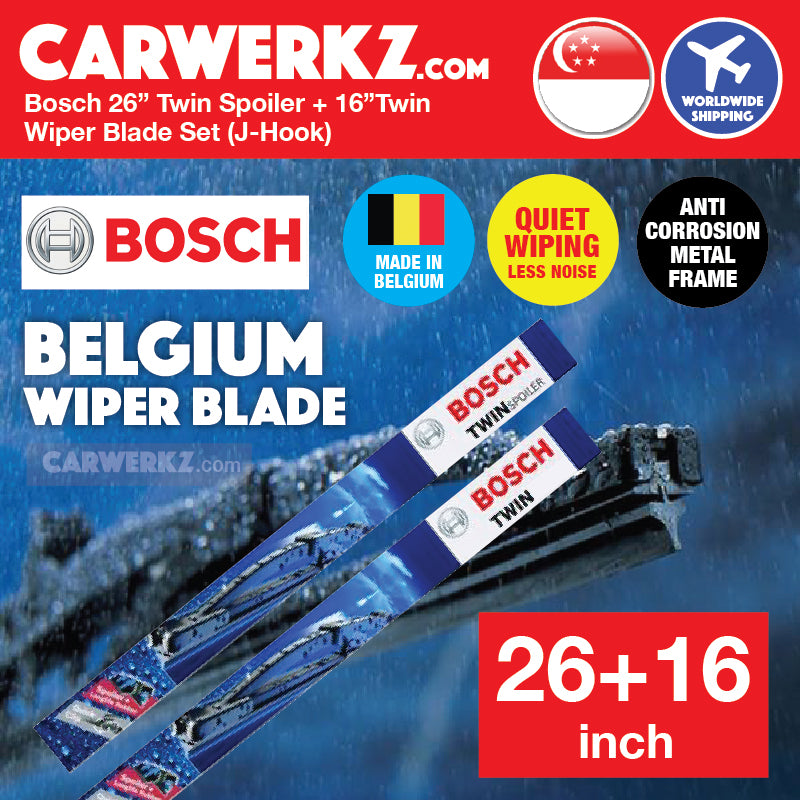 Bosch OE Specialty Twin Spoiler 26 inch 650 US + 16 inch Twin 400 U Wiper Blades Set J-Hook (Made in Belgium) - CarWerkz