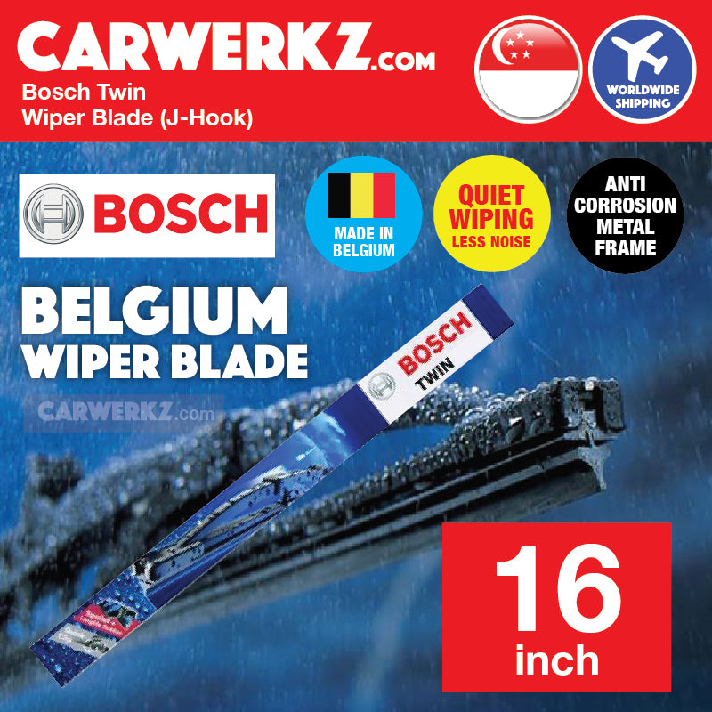Bosch OE Specialty Twin Wiper Blade 400 U 16 inch / 400mm J-Hook (Made in Belgium) - CarWerkz