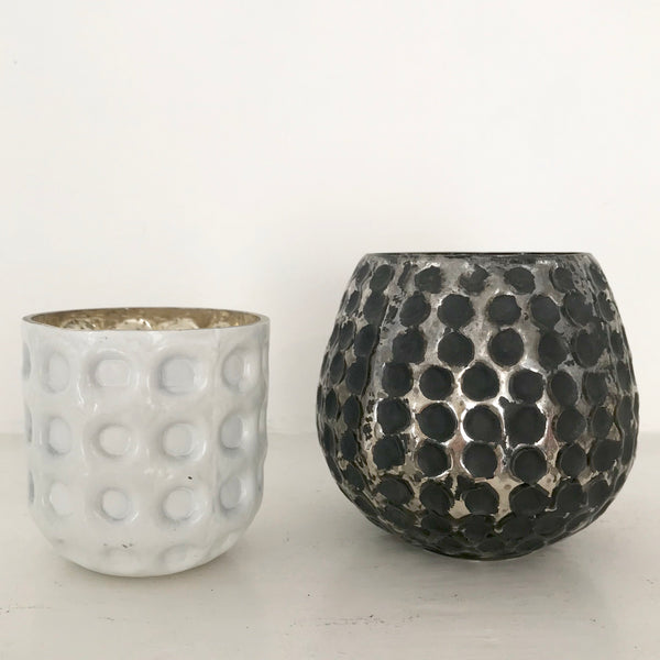 Metallic Dot Glass Votive