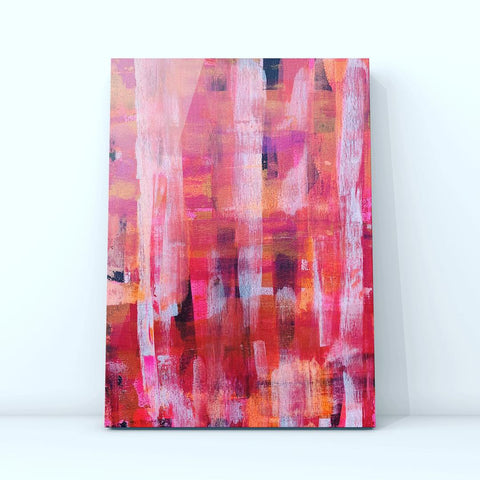 Modern Tartan Pink- Original Acrylic Abstract Art On Canvas