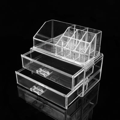 Clear Acrylic Storage Box With 2 Drawers And 9 Grids For Organizing Just  About Everything