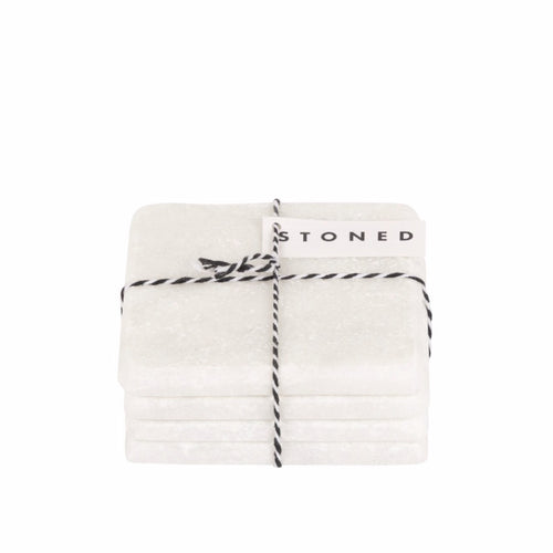 STONED - White Marble Square Coasters
