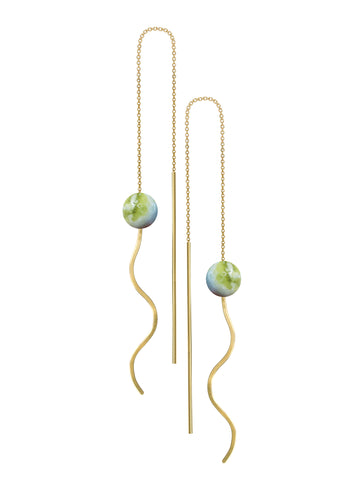MILANOVA STUDIO - Almost Blue Gold Nephrite Earrings