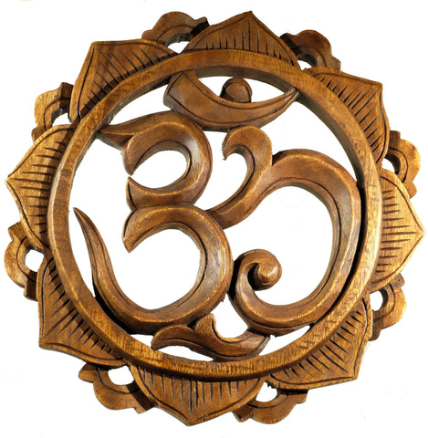 Hand Carved Om Lotus Mandala