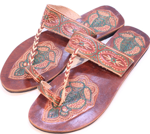 Hand Embossed Leather Buffalo Sandals