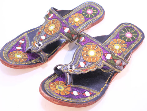 Fancy Hand Embroidered Paisley Sandals