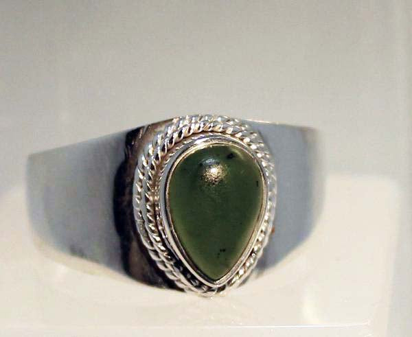 Sterling Silver Jade Rings in Sizes 11-14