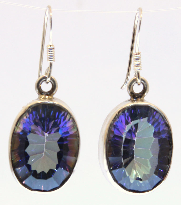 Large Stone Sterling Silver Mystic Topaz Earrings