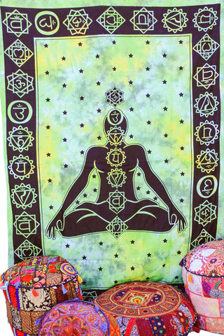 Hand printed Chakra Tapestries Wall Hanging or Bedsheet