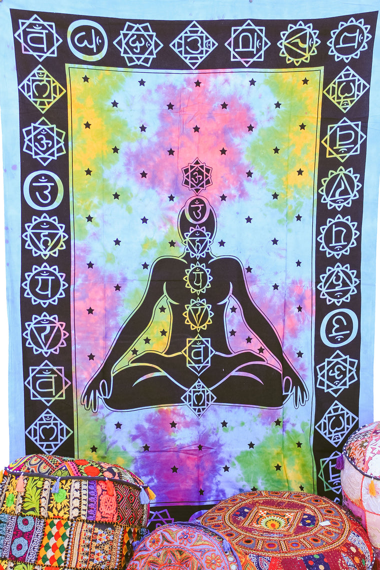 Hand printed Chakra Tapestries Wall Hanging or Bedsheet Rainbow